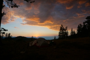 Tent at sunset